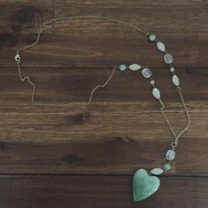 """Light green beaded """"Y"""" necklace"""